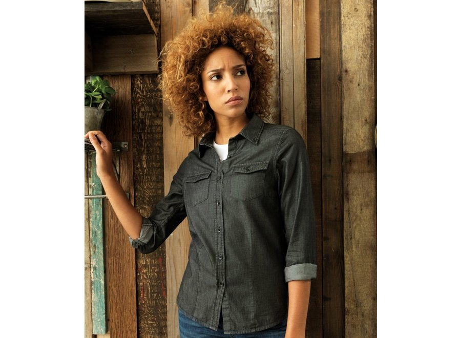 Dames jeans stitch denim shirt blauw of zwart