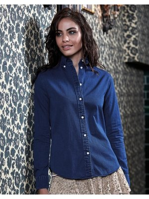 Teejays Denim look Casual Twill dames blouse