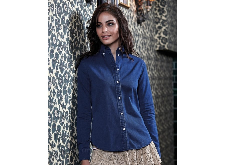 Denim look Casual Twill dames blouse
