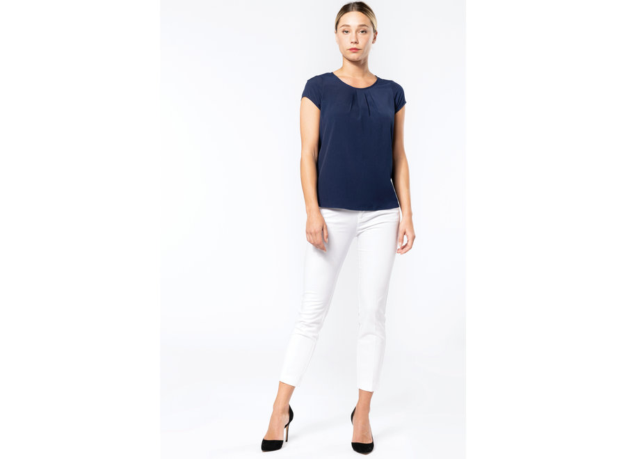 Dames blouse korte mouw blauw of wit
