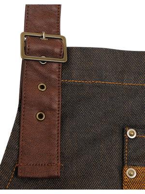 Premier Schort Waxed Look Denim Bib Apron / Faux Leather