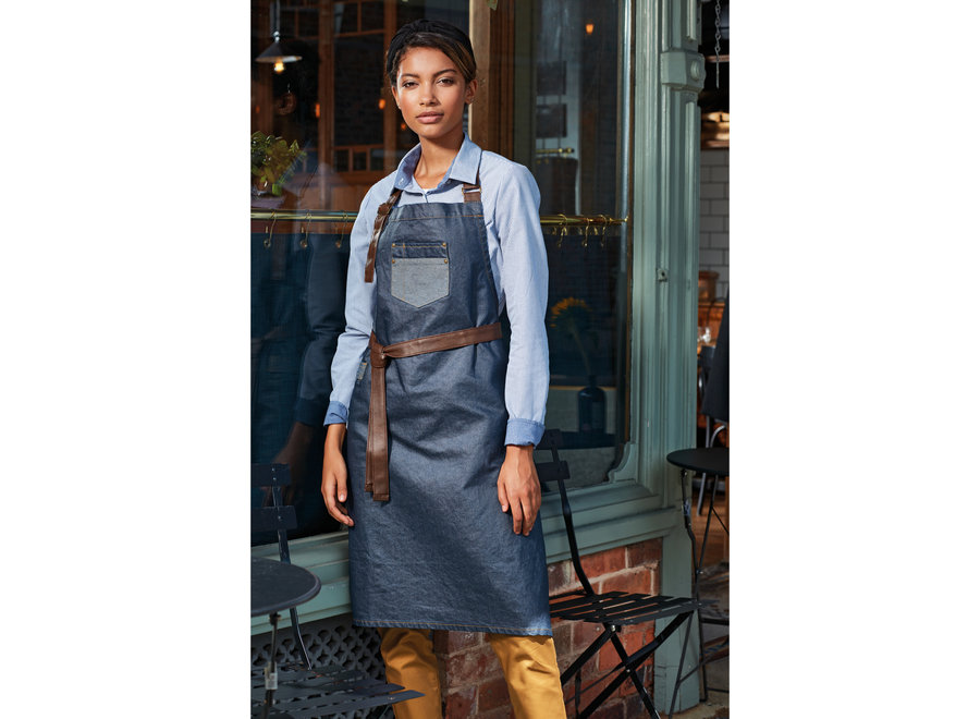 Schort Waxed Look Denim Bib Apron / Faux Leather / Black Tan Denim