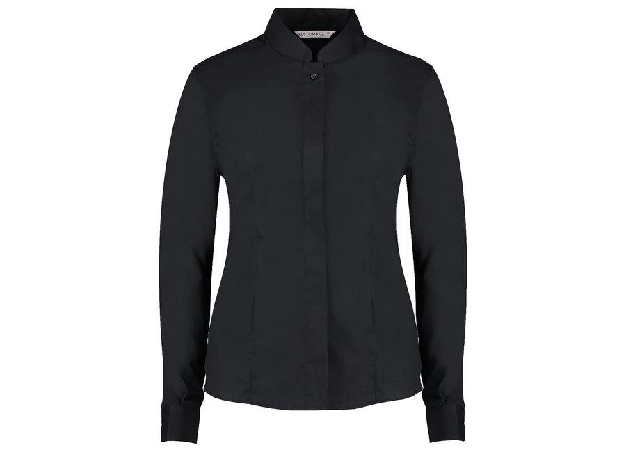 Dames blouse mandarin kraag zwart