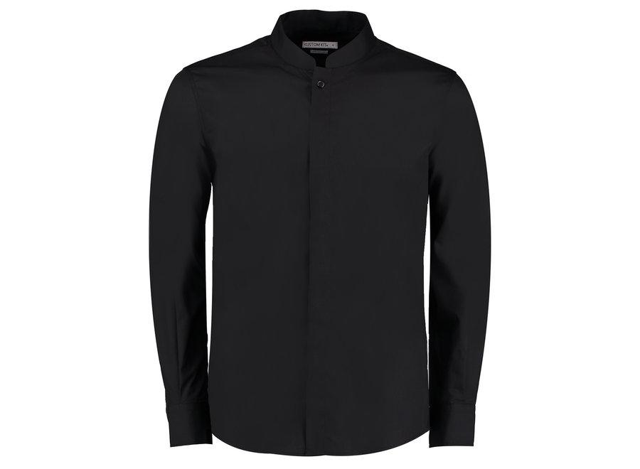 Overhemd heren Mandarin kraag Zwart