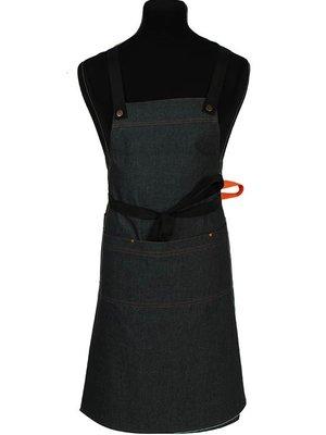 Schriks Schort denim - 3 sets gekruiste banden zwart, cognac en oranje