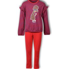 Woody Meisjespyjama Alpaca, rood-blauw