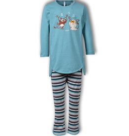 Woody Meisjespyjama Spookdiertje, ijsblauw