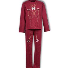 Woody Jongenspyjama Alpaca, dark red