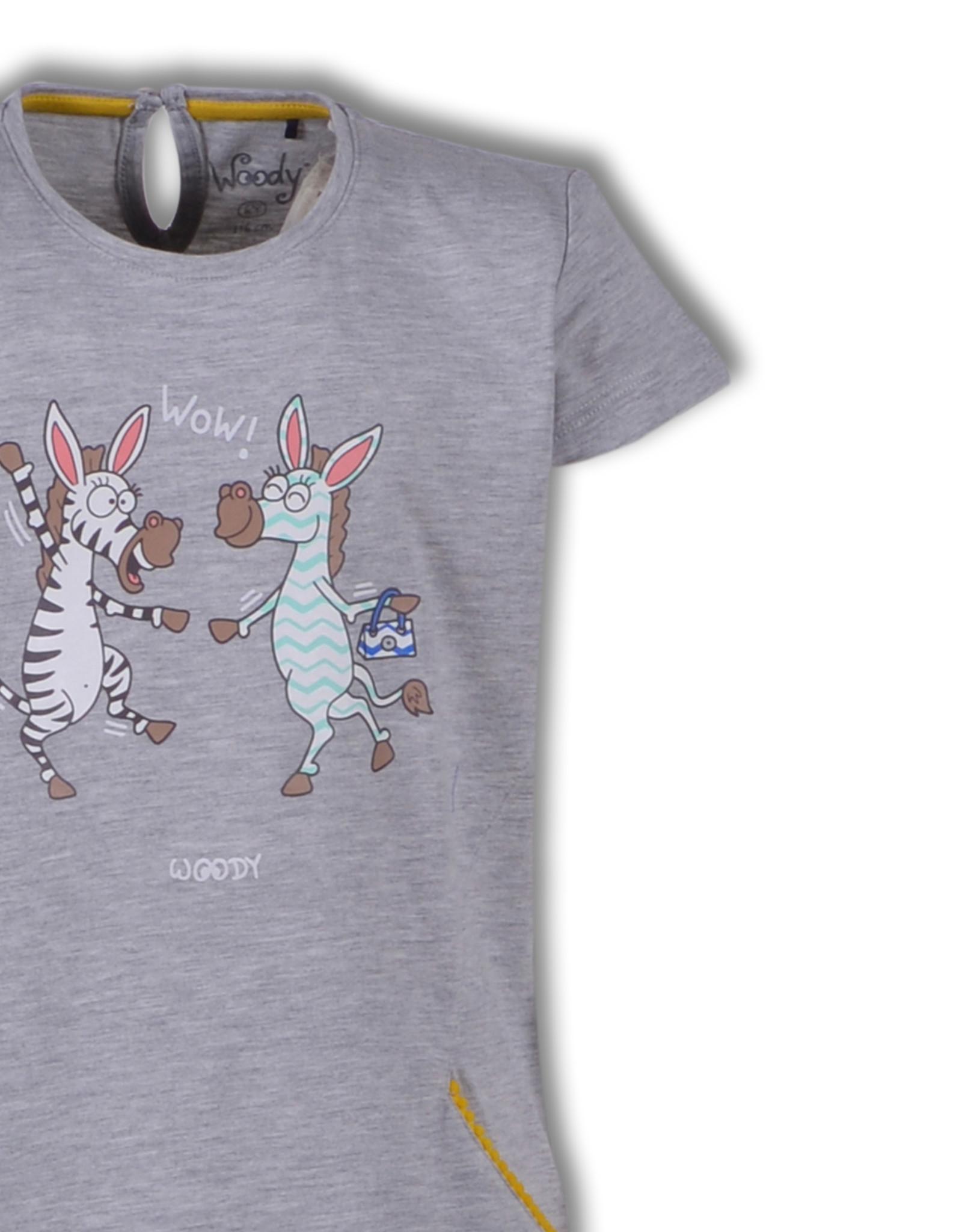 Woody Meisjespyjama Zebra, grey