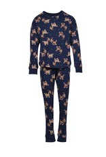 Woody Meisjes pyjama, donkerblauw met geit