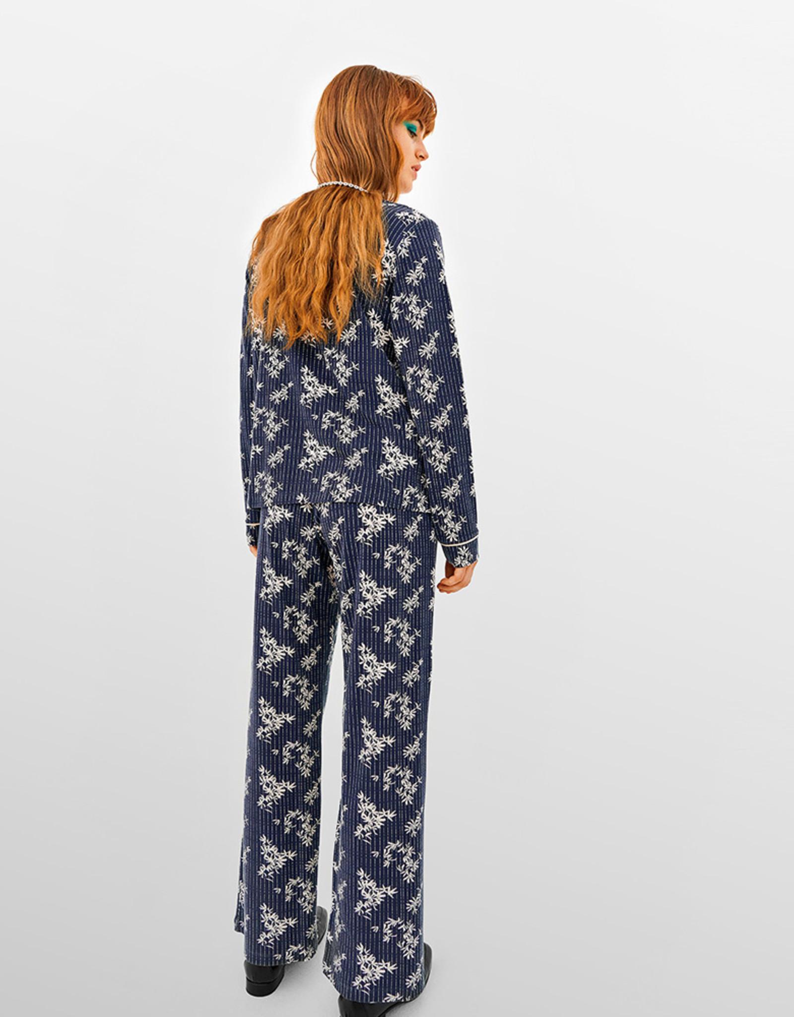 Lords & Lillies Damespyjama, donkergrijs met blaadjes