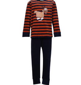 Woody Jongens pyjama, donkerblauw-roest streep