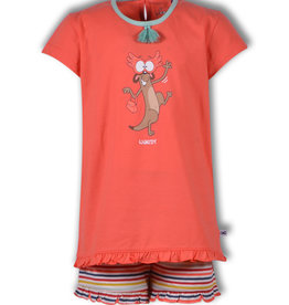 Woody Meisjespyjama Stokstaartje, koraal