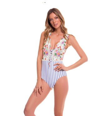 Romantic Flowers Lilac Striped Swimsuit Floral print