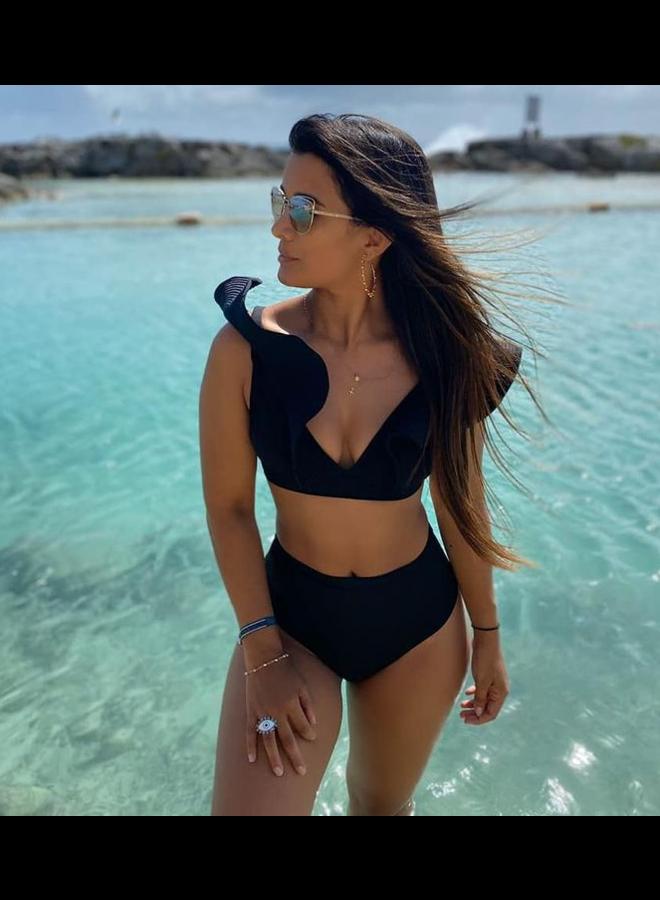 Zwarte bikini top  met ruffles
