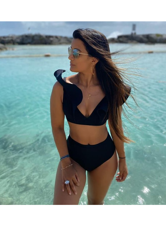 ¿Buscas braguitas de bikini negras de cintura alta?