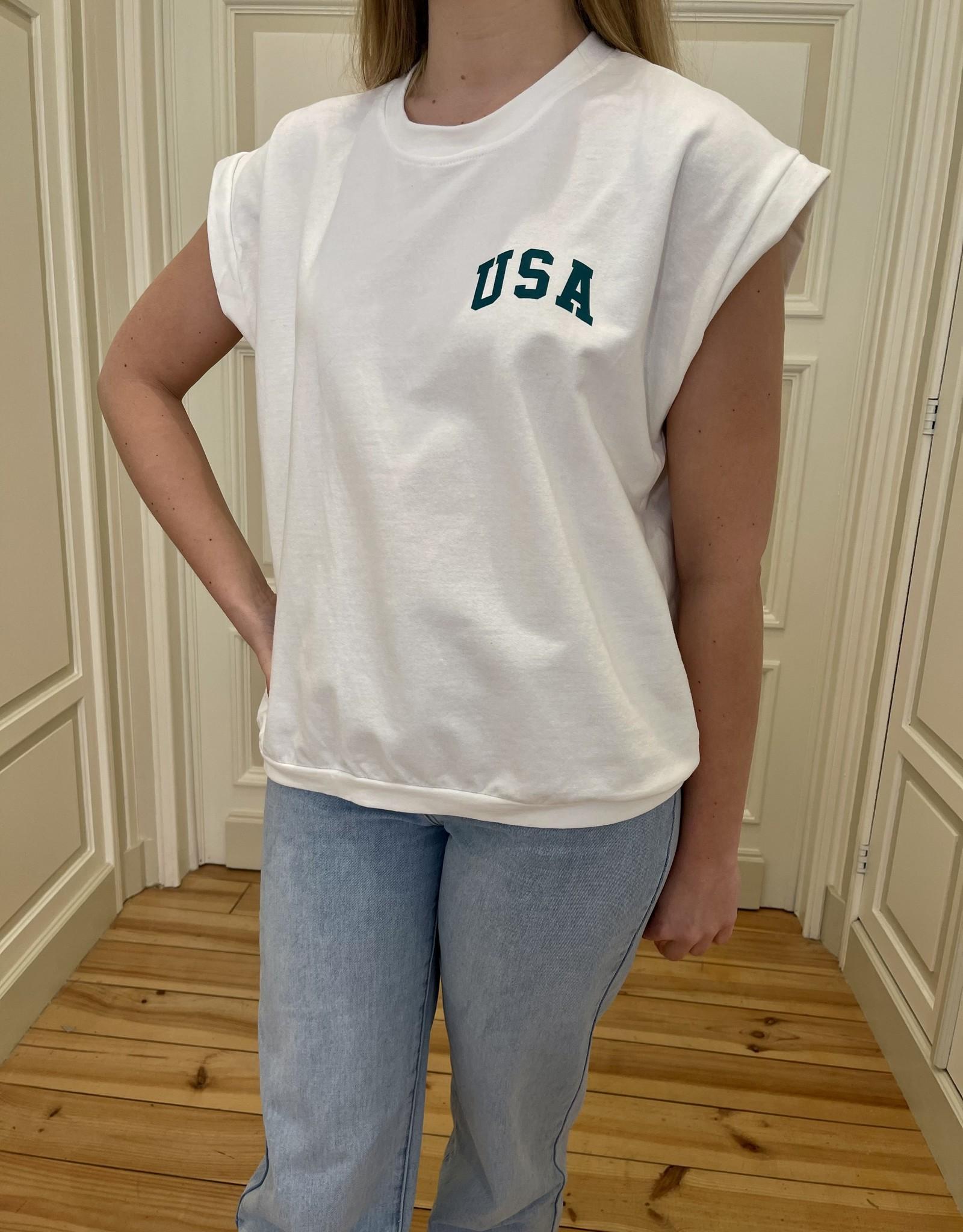 T-shirt USA - écriture en vert