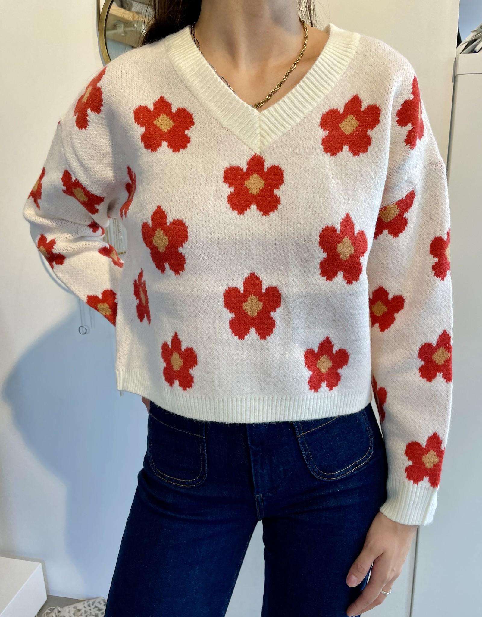 Pull Marguerites - Rouge