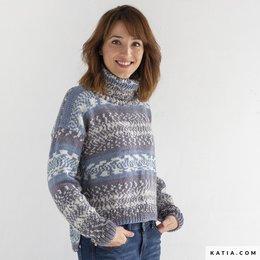 Katia Strickanleitung Pullover Damen Easy Jacquard