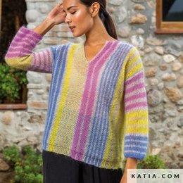 Katia Strickanleitung Pullover Damen 50 Mohair Shades