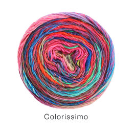 Lana Grossa Colorissimo 7 - Rost/Petrol/Lachsrot/Grün/Rot/Weinrot/Himbeer