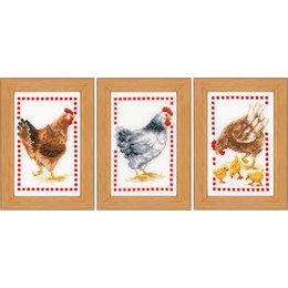Vervaco Kreuzstichpackung Miniatur schnatternde Hühnern -  set von 3