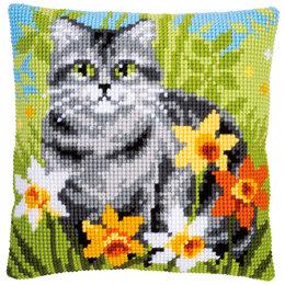 Vervaco Kreuzstichkissen Katze im Gras