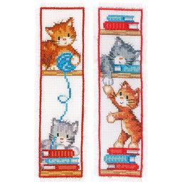 Vervaco Kreuzstichpackung Lesezeichen -  Katzen - 2er Set