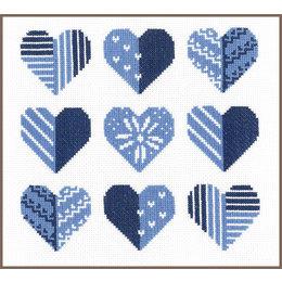 Vervaco Kreuzstichpackung Blaue Herzen