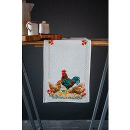 Vervaco Kreuzstichpackung Tischläufer mit Hahn und Hühnern