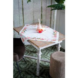 Vervaco Stickpackung Tischdecke Kohlmeisen in Blumen