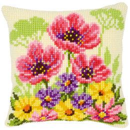 Vervaco Kreuzstichkissen Blumenbeet mit Mohnblumen