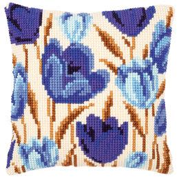 Vervaco Kreuzstichkissen Blaue Tulpen