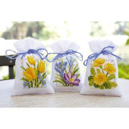 Vervaco Kräutersäckchen - Tütchenpackung  Frühlingsblumen - 3er Set