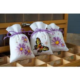 Vervaco Kräutersäckchen - Tütchenpackung Lila & Schmetterling - 3er Set