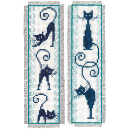 Vervaco Kreuzstichpackung Lesezeichen Fröhliche Katzenbande - 2er Set