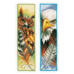 Vervaco Kreuzstichpackung Lesezeichen Eule und Adler - 2er Set