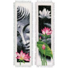 Vervaco Kreuzstichpackung Lesezeichen Buddha/Lotus - 2er Set