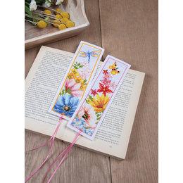 Vervaco Kreuzstichpackung Lesezeichen  Blumen - 2er set