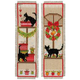 Vervaco Kreuzstichpackung Lesezeichen Weihnachtszeit - 2er Set