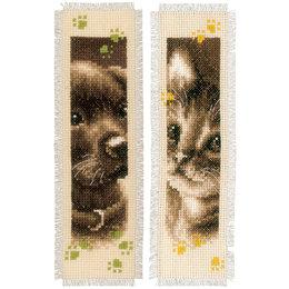 Vervaco Kreuzstichpackung Lesezeichen Hund & Katze  - 2er Set