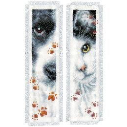 Vervaco Kreuzstichpackung Lesezeichen Hund und Katze - 2er Set