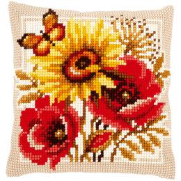 Vervaco Kreuzstichkissenpackung Mohn-& Sonnenblume