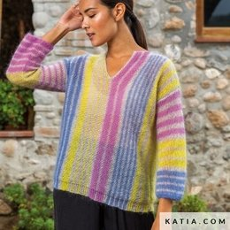 Katia Strickset: Pulli mit längsstreifen aus  50 Mohair Shades
