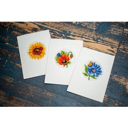 Vervaco Kreuzstichpackung Grußkarten Sommerblumen - set von 3