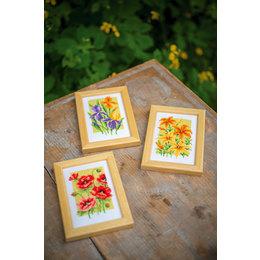 Vervaco Kreuzstichpackung Miniatur Sommerblumen -  set von 3