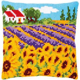 Vervaco Kreuzstichkissen Sonnenblumenfeld