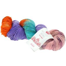 Lana Grossa Meilenweit 100 Merino Hand-Dyed 309 - Orange/Blauviolett/Mint/Gelbgrün/Rosa/Pink/Hellblau