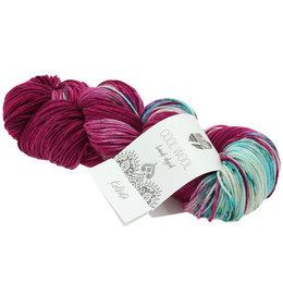 Lana Grossa Cool Wool Hand-Dyed 109 - Türkisblau/Rotviolett/Rohweiß/Petrol