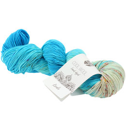Lana Grossa Cool Wool Hand-Dyed 110 - Azurblau/Hellblau/Rohweiß/Fuchsia